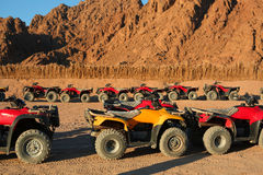 Quad bike safari trip into desert in Egypt Stock Photo