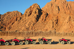 Quad bike safari trip into desert in Egypt Stock Photos