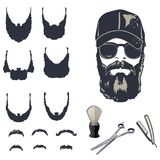 Set of vector bearded men. Hipsters with different haircuts, mustaches, beards Royalty Free Stock Photography