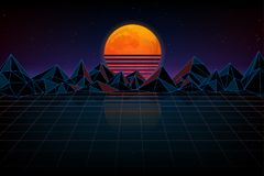 Night digital landscape. Futuristic background retro wave. Night digital landscape, moon, mountains and a laser grid, wave music Stock Photography
