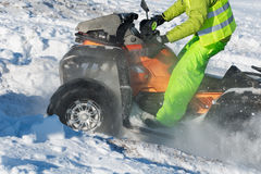 Quad bike in snow. Front wheel of Quad bike in the snow Royalty Free Stock Photography