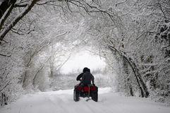 Quad bike snow ride Stock Images
