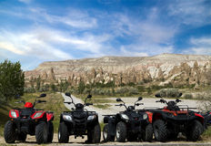 Quad bike on valley Goreme Royalty Free Stock Images