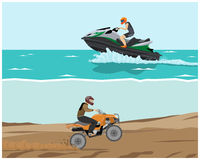 Quad bike and watercraft. The man is engaged in extreme sports. Quad bike and watercraft. Vector illustration Royalty Free Stock Images