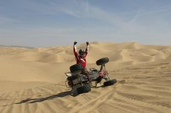 Quad Biker Cheering Royalty Free Stock Images
