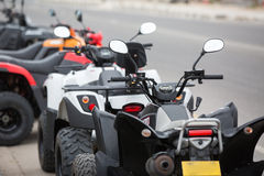 Quad bikes are prepare for hiring Stock Photos