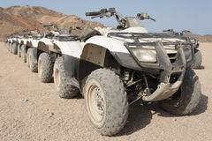 Quad bikes in a row Royalty Free Stock Images