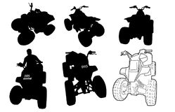 Quad bikes silhouette vector clipart Royalty Free Stock Photography