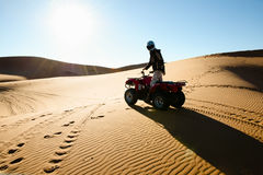 Quad Biking Silhouette - Merzouga - Morocco Royalty Free Stock Photo