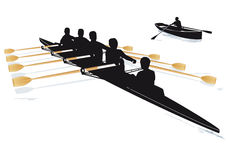 Rowing boats. Quad boat with rowers and cox and a single rowing boat in silhouette Royalty Free Stock Image