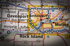 Quad Cities on map. Closeup of Quad Cities Iowa & Illinois on a road map of the United States stock photography