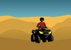 Quad and desert design. With a shilouette of man driving quad Stock Photo