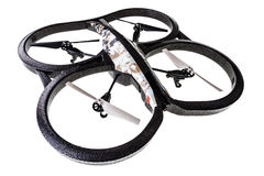 Quad drone. A quad copter spy drone isolated over a white background Royalty Free Stock Photo