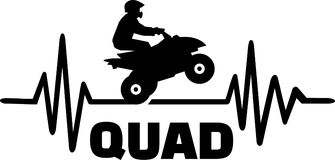 Quad heartbeat line with driver. Heartbeat pulse line quad with stunt driver Stock Image