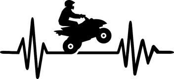 Quad heartbeat line word. Heartbeat pulse line quad with word and stunt driver Stock Photos