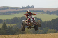 Quad jump. MOHELNICE, CZECH REPUBLIC - SEPTEMBER 17. Unidentified racer jump with a quad motorbike in the Czech Republic Cup 2011 on September 17, 2011 in the Stock Image