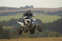 Quad jump. MOHELNICE, CZECH REPUBLIC - SEPTEMBER 17. Unidentified racer jump with a quad motorbike in the Czech Republic Cup 2011 on September 17, 2011 in the Stock Images