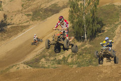 Quad jumpers. MOHELNICE, CZECH REPUBLIC - SEPTEMBER 17. Unidentified racer jump with a quad motorbike in the Czech Republic Cup 2011 on September 17, 2011 in the Royalty Free Stock Image