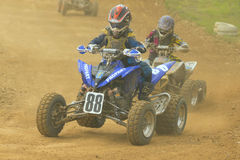 Quad race. JEVICKO, CZECH REPUBLIC - JULY 23. Unidentified racers rides a quad motorbike in the Crossracing Cup 2011 on July 23, 2011 in the town of Jevicko Stock Images