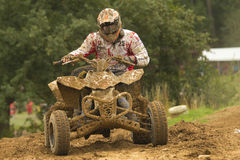 Quad race. JEVICKO, CZECH REPUBLIC - JULY 23. Unidentified racers rides a quad motorbike in the Crossracing Cup 2011 on July 23, 2011 in the town of Jevicko Stock Image