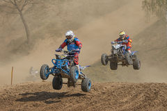 Quad race - two riders in a jump Stock Image