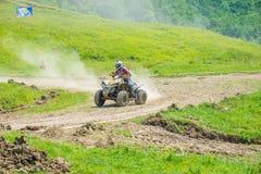 Quad racer. Taking turn. Event from 20.05.2015 in Moreni, Dambovita, Romania Royalty Free Stock Photos
