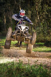 Quad rider jumping. On a forest trail Stock Photography