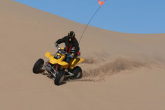 Quad rider in sand dunes bowl Stock Photography