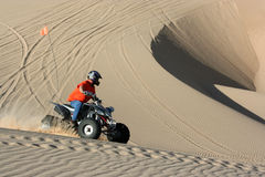 Quad rider in sand dunes bowl Stock Image
