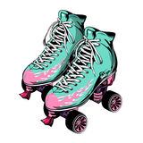 Quad Roller Skates. With laced boots of blue pink color on white background  vector illustration Stock Photography