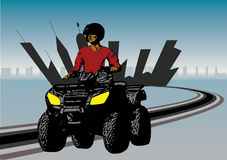 Quad sports design. With shilouette of man driving quad Stock Image