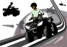 Quad sports design. With a shilouette of man driving quad Royalty Free Stock Image