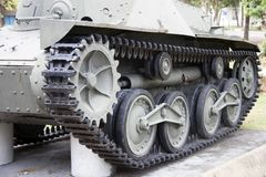 Quad tracked tank on the green lawn. Royalty Free Stock Image
