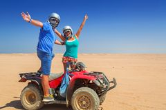 Quad trip on african desert. Of Egypt Royalty Free Stock Images