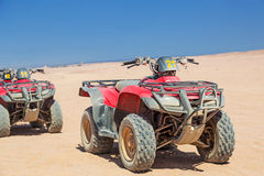 Quad trip on the desert near Hurghada. On 16 April 2013. Desert safari is one of the main local tourist attraction in Egypt stock photo