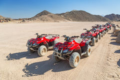 Quad trip on the desert near Hurghada. On 16 April 2013. Desert safari is one of the main local tourist attraction in Egypt royalty free stock image