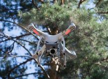 Quadcopter в лесе стоковое изображение