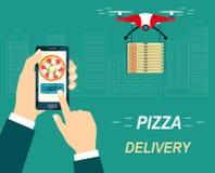 Quadcopter летая трутня с пиццей Заказ и доставка пиццы иллюстрация вектора