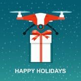 Quadcopter летая трутня с giftt бесплатная иллюстрация