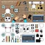 Quadcopter-Ausrüstung auf dem Tisch Stockbild