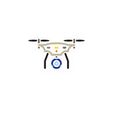 Quadcopter with camera line icon, outline vector logo illustration, linear pictogram isolated on white. Royalty Free Stock Images