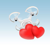 Quadcopter carrying heart mark for fast love message delivery concept Royalty Free Stock Photos