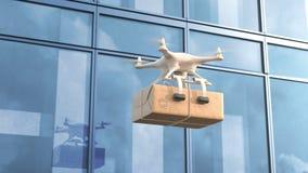 Quadcopter dostarcza pakunek przeciw budynkowi biurowemu ilustracji