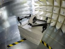 Drone Electromagnetic Compatibility EMC test in GTEM cell. Quadcopter drone electromagnetic compatibility testing inside GTEM cell stock photography