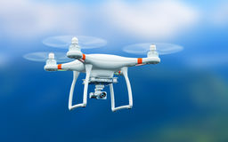 Quadcopter drone with 4K video camera flying in the air. Creative abstract 3D render illustration of professional remote controlled wireless RC quadcopter drone Royalty Free Stock Photo
