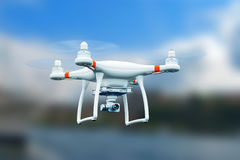 Quadcopter drone with 4K video camera flying in the air. Creative abstract 3D render illustration of professional remote controlled wireless RC quadcopter drone vector illustration