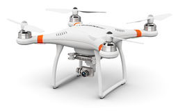 Quadcopter drone with 4K video and photo camera. Creative abstract 3D render illustration of professional remote controlled wireless RC quadcopter drone with 4K royalty free illustration