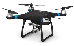 Quadcopter drone with 4K video and photo camera. Creative abstract 3D render illustration of professional remote controlled wireless black RC quadcopter drone royalty free illustration