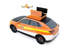 Quadcopter drone take off from electric rescue SUV on white background vector illustration