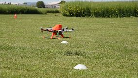 Quadcopter Drone Taking Off over lawn stock footage